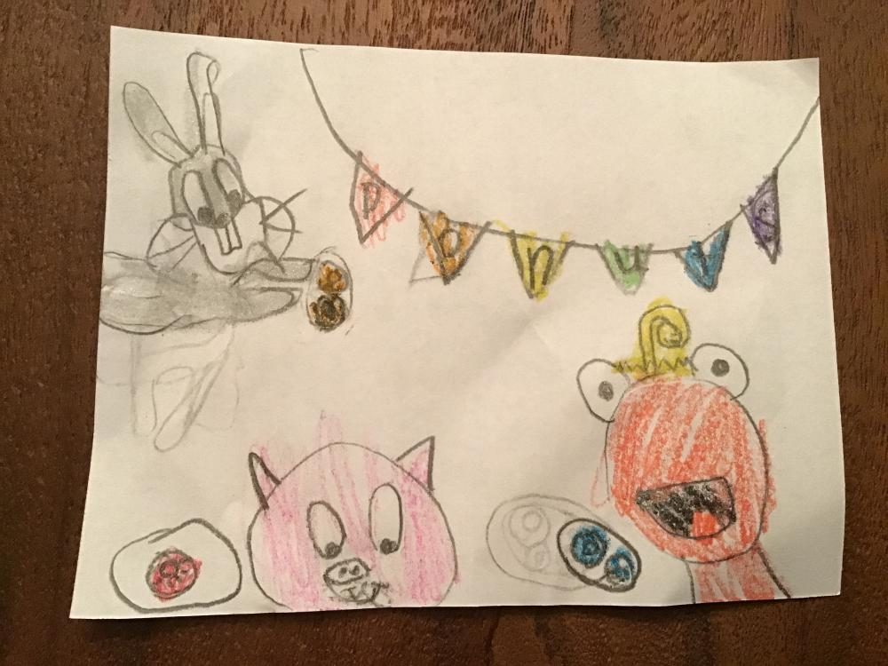 This is Toony, Bugs Bunny and Porky pig having a donut party!  I really like all the cartoons you show us. Thanks!