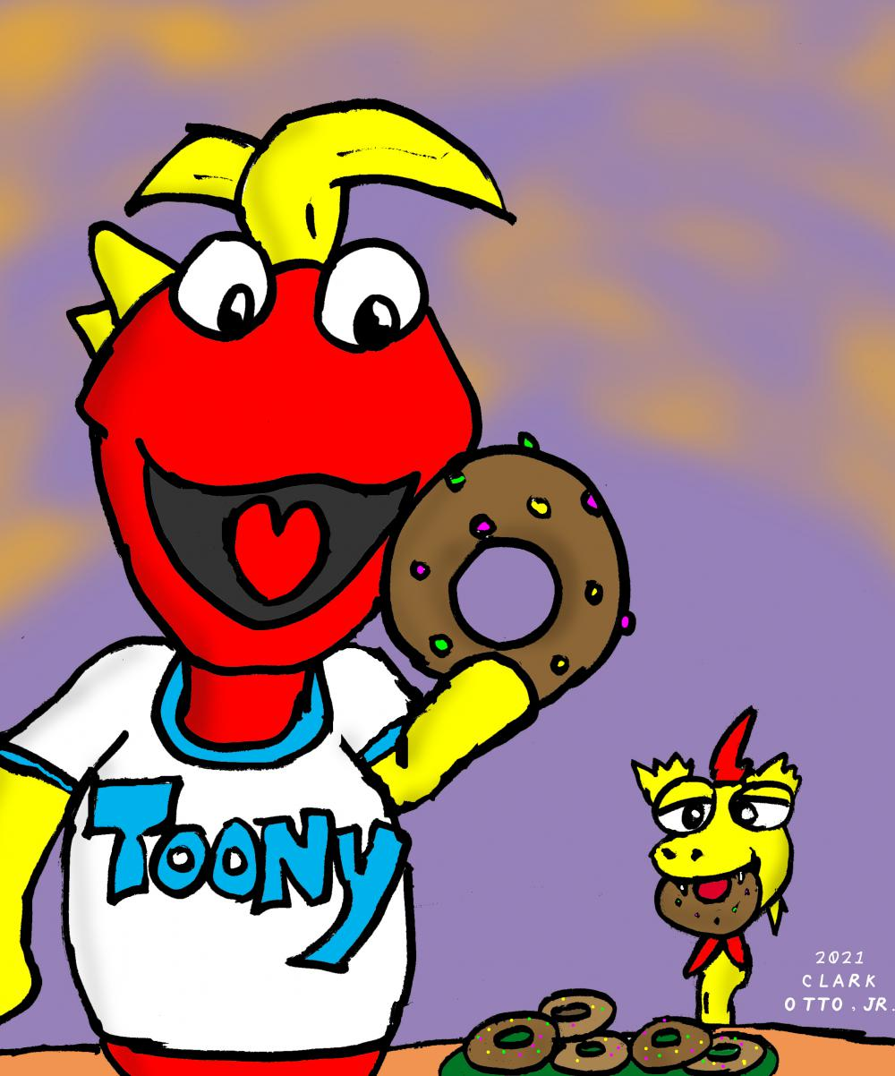 Toony's starting out the day with some donuts but Kerwyn from Svengoolie is also helping himself to one.  I'm pretty sure Toony would let Kerwyn have just one.