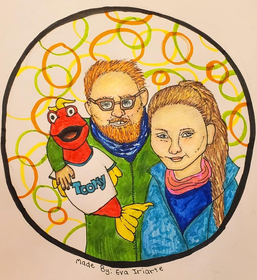 I've seen every episode and am a huge fan especially of Toony. Now I can't draw flies, so I asked my 12 year old niece Eva to create a Picture of the three of us together.  :) Thanks TO the Tank, Fred