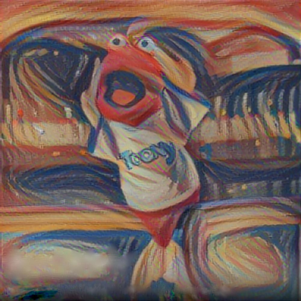This is Toony as painted by Edvard Munch. Can you hear the tuna scream?  I watch Toon In with Me every day because I grew up with these cartoons 50 years ago, but I also think you're all geniuses.