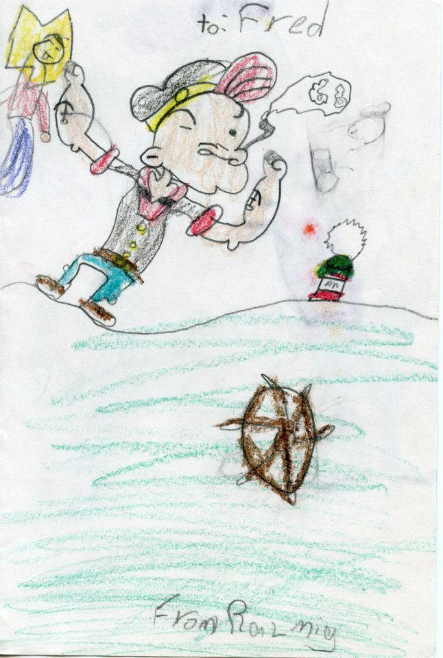 Razmig, was taught how to draw Popeye at The North Branch Library in Watertown, MA.  He loves Popeye and his friends and enjoys watching them on Toon In With Me.
