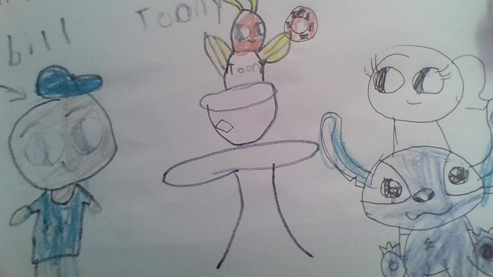 becuase toony the tuns and bill ispired me and im a good artist at art so this paintintg is my imagenation  for the cartoon.