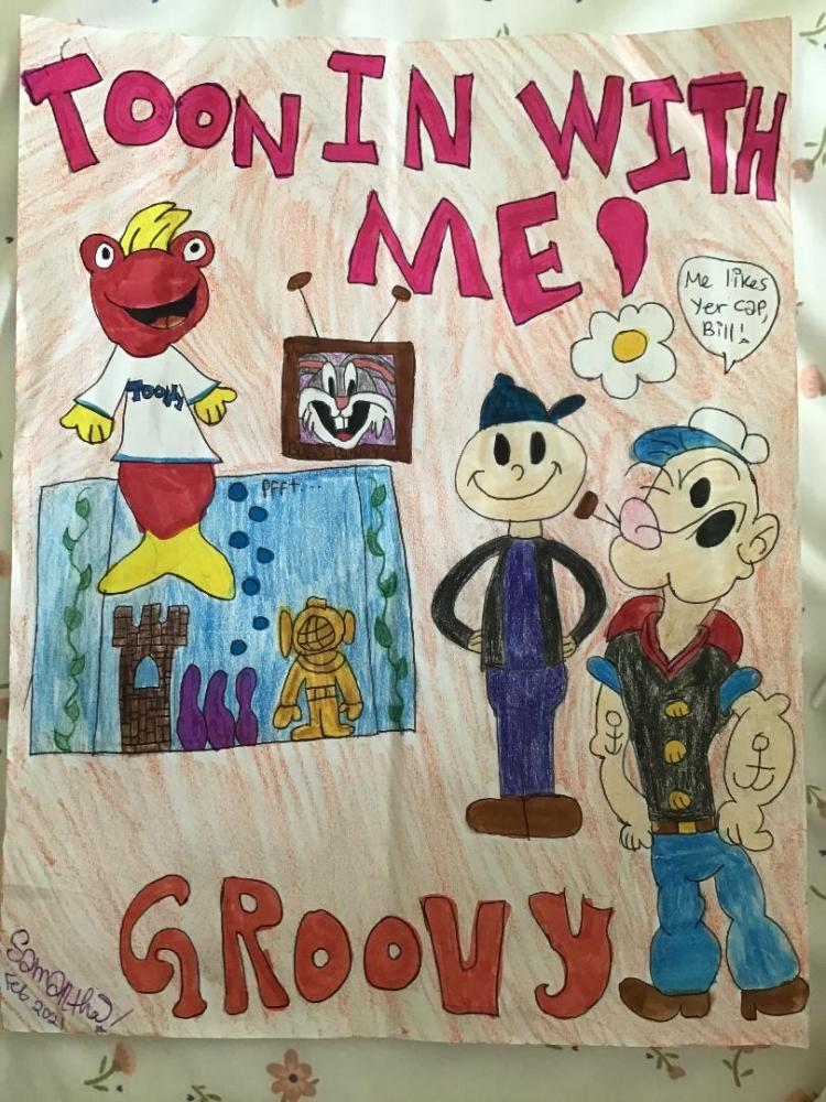 I love to watch Toon In With Me and Leave it to Beaver every morning with my dog, cat, and my mom! I hope you like this picture of the Toony gang having a groovy party with Popeye!