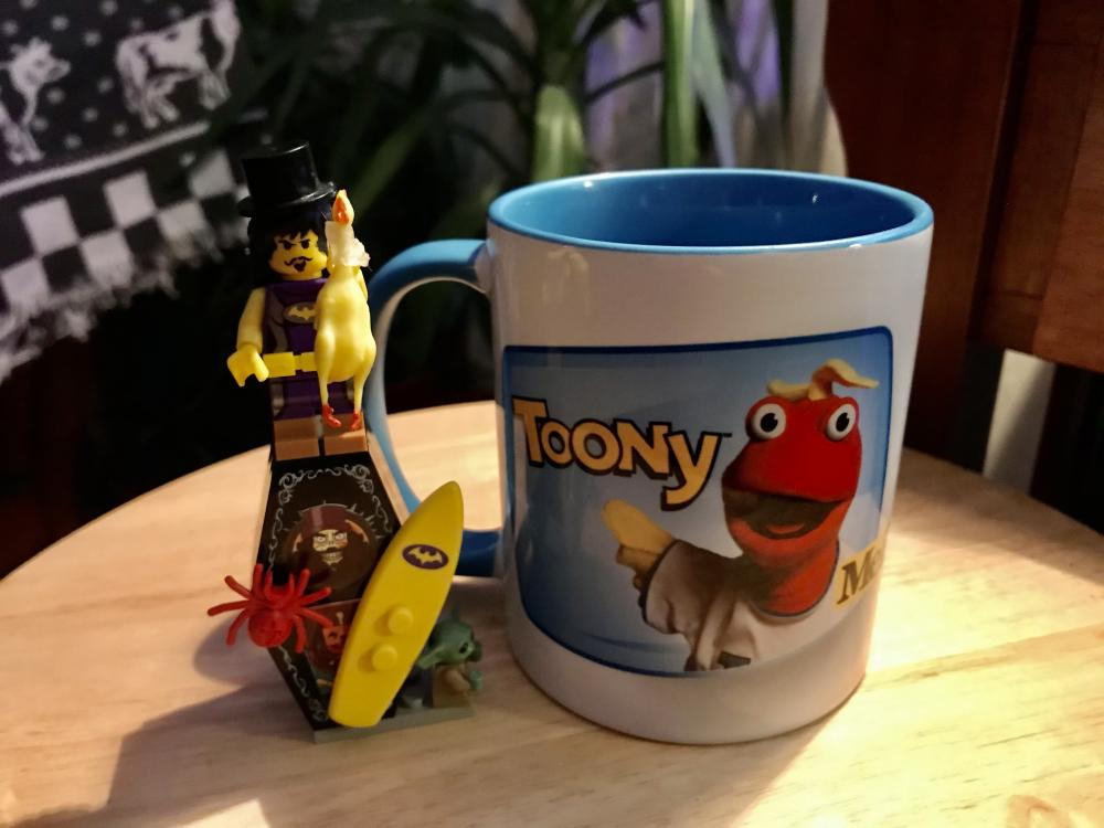 My Toony mug with my Vacation Svengoolie mini fig I created. I always enjoy my morning coffee with Toony and the Toon In With Me Crew!