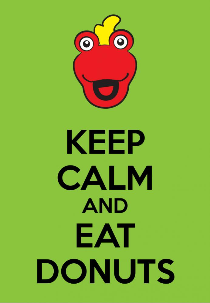 I decided to do some Keep Calm Posters featuring the Toon In With Me Crew. First up is Keep Calm and Eat Donuts featuring Toony!