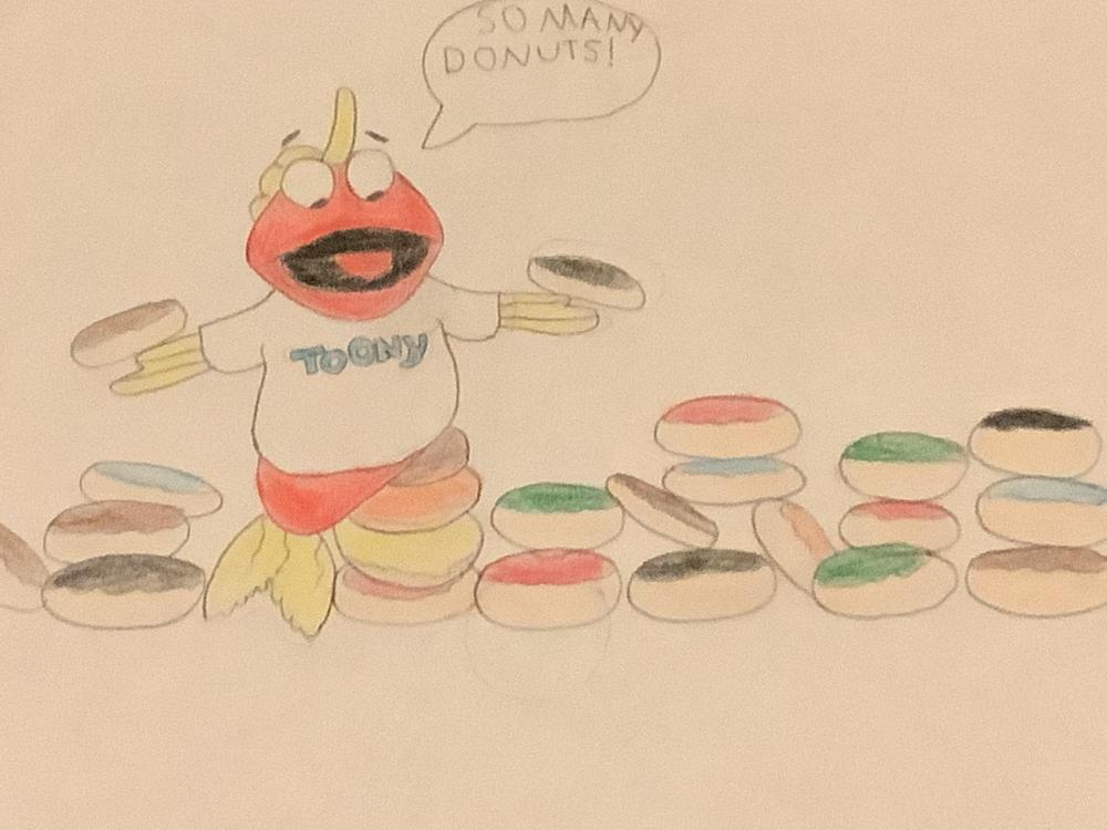 I always knew Toony liked donuts from the start, so I drew this to show what he likes the best.