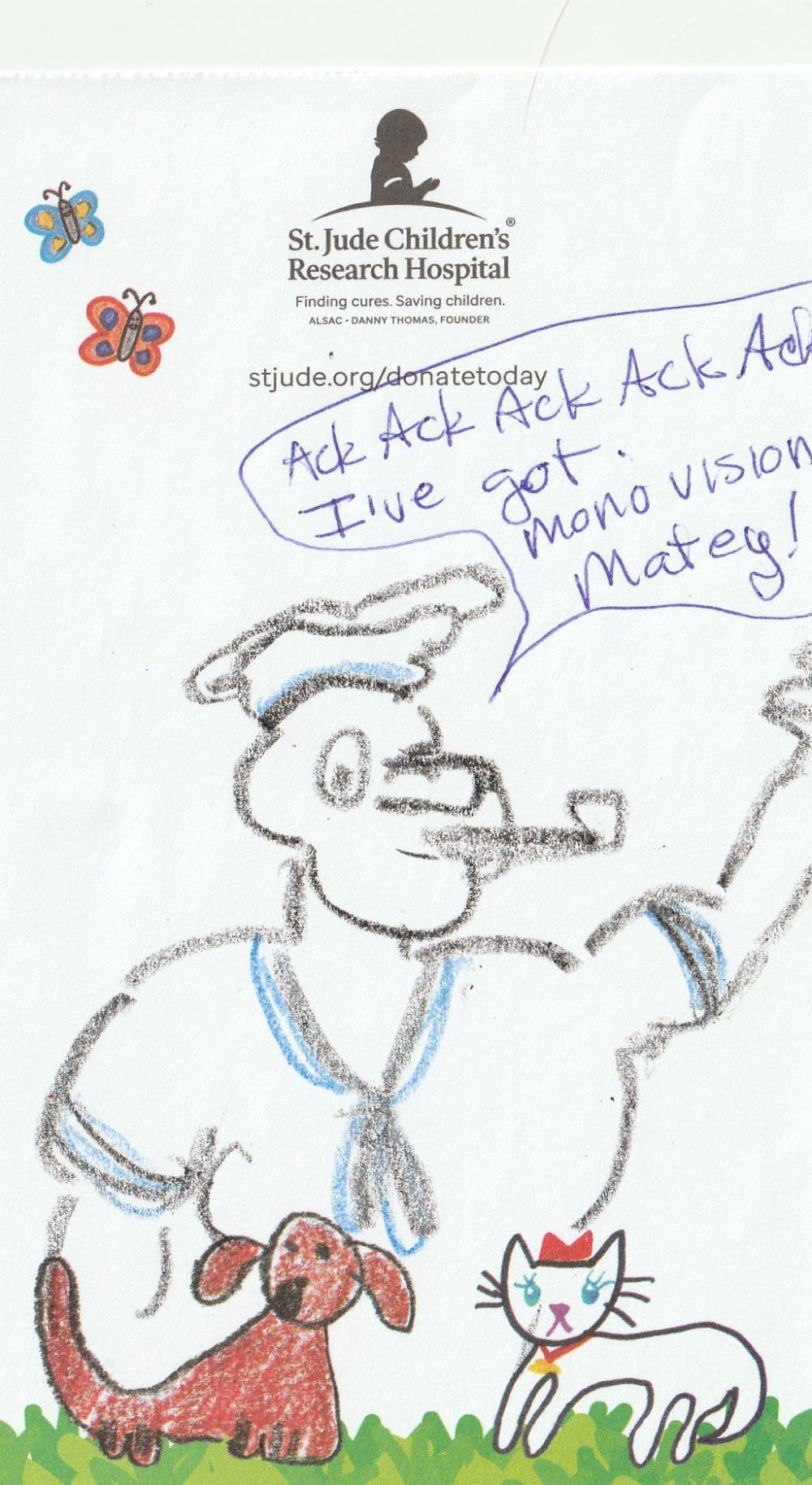 And a poor attempt at Popeye from me. My husband is an optometrist, so mentioning momovision is hilarious.....to us. Only us. Ack ack ack ack ack!