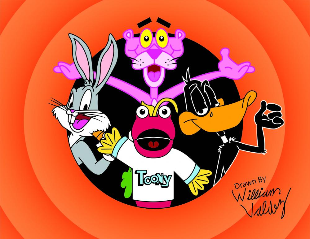 I am 26 years old and I love watching Toon in With Me! Bugs, Daffy and Pink Panther are my favorites so, I have drawn Toony with those 3. I drew this on paper first then redrew it on my tablet and I hope to be a Cartoonist one day! Hope you like it.