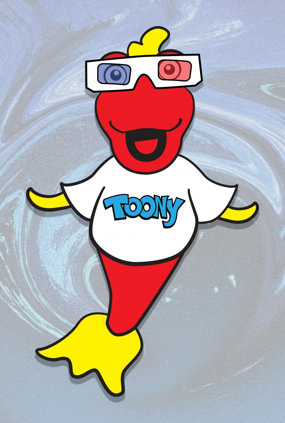 Toony with 3-D glasses inspired by the 3-D episode with Svengoolie.