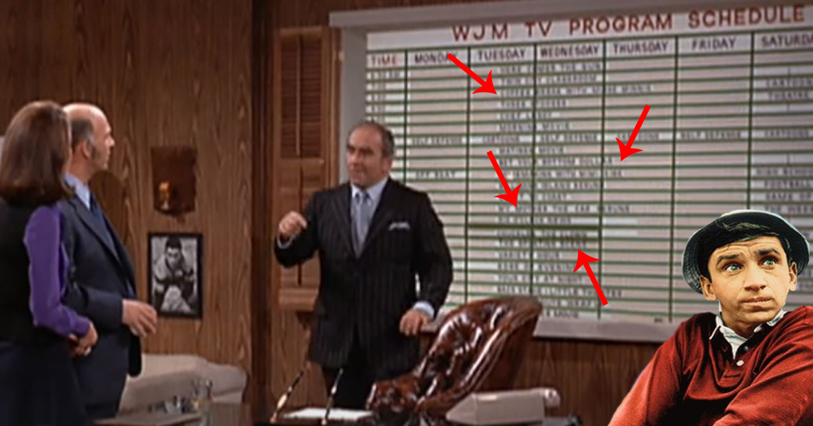 Every Reference You Probably Missed On The Mary Tyler Moore Show Programming Board